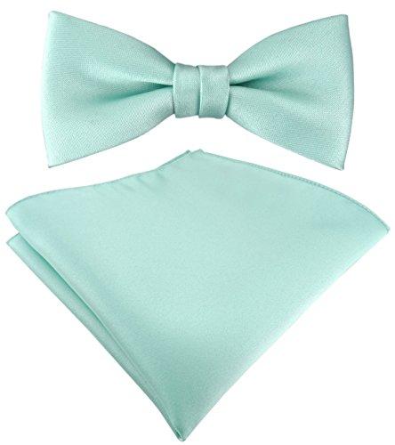 Set Kleinkinder Baby Fliege in mint grün Uni - Gr. 29 bis 40 cm Halsumfang verstellbar + Einstecktuch + Aufbewahrungsbox
