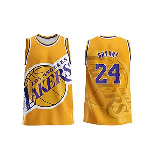 DDOYY Bryant #24 Lakers - Camiseta de baloncesto retro, chaleco de baloncesto personalizado, cómodo y usable, color amarillo-XXXXXXL