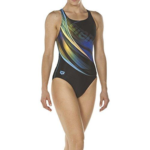 arena Damen Sport Badeanzug Prisma (Schnelltrocknend, UV-Schutz UPF 50+, Chlorresistent), Black-Turquoise (508), 44