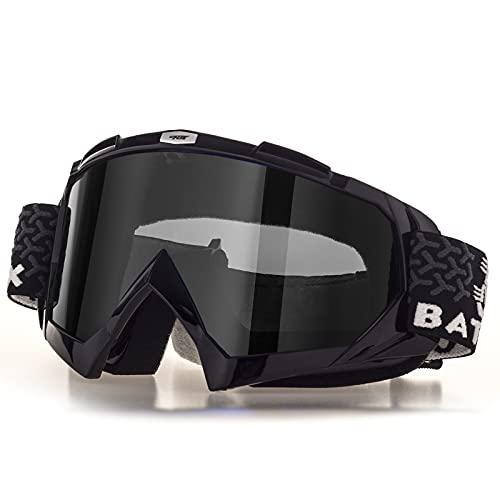BATFOX Motorradbrille Dirt Bike ATV Motocross Sicherheit ATV Tactical Riding Motorradbrille Brille für Männer Frauen Jugend Fit Über Brille UV400 Schutz Bruchsicher (Schwarz-Grau)