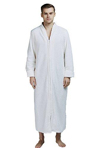FAVORU flanel volledige lengte badjassen pluche fleece lange roven voor mannen met rits