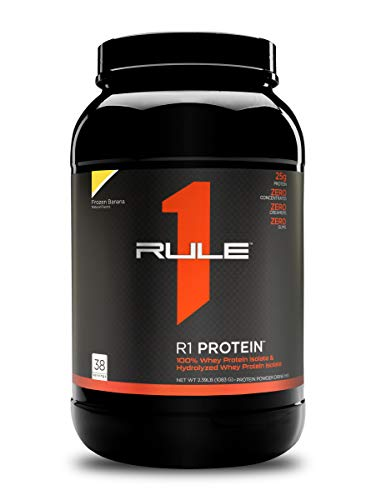 Rule One Proteins, R1 Protein - Frozen Banana, 25g Fast-Acting, Super-Pure 100% Isolate and Hydrolysate Protein Powder with 6g BCAAs for Muscle Growth and Recovery, 2.5 Pounds, 38 Servings