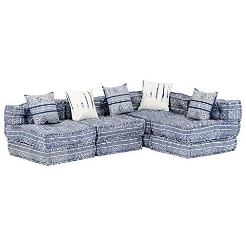 Tidyard Vielseitig Kombinierbar Modular 4-Sitzer-Schlafsofa Sofa-Bett Couch Geliefert mit 5 Kissen,Polstersessel Loungesessel Loungesofa 200 x 132 x 56 cm,Schaumstoff +...