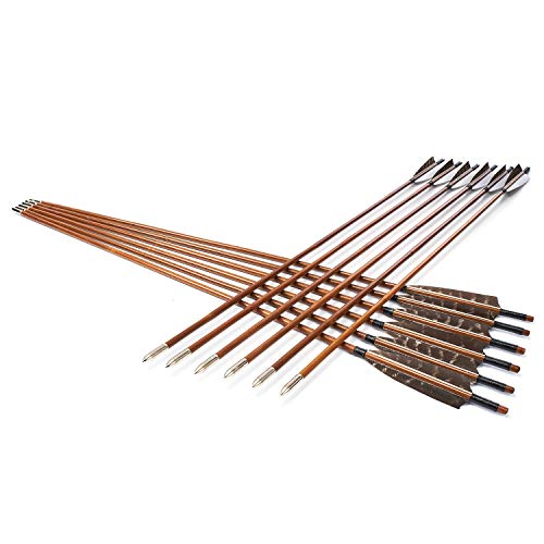 KAINOKAI 31Inch Traditional Hunting Arrows,Wooden Arrows Bamboo Arrows with Armor Piercing Broadheads,Archery Target Arrows (Bamboo Archery Target Arrows (Pack of 12))