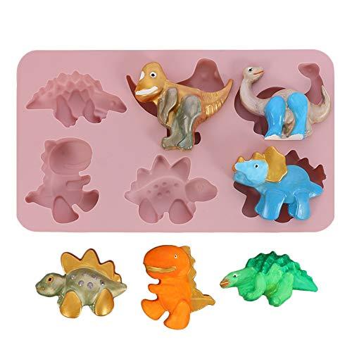 JasCherry Silikon Kuchenform, Bonbon Schokoladenformen, 6 Hohlraum 3D Dinosaurier Geformt Motivbackformen, für Eiscreme Chiffon Kuchenform Backen Cupcake Form (28 X 16 X 2.5 cm), Farbe Zufällig
