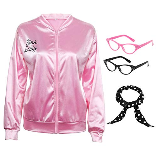 50S Pink Satin Zipper Jacket with Polka Dot Scarf Cat Eye Glasses Women Girls Hen Night Party Halloween Costume Fancy Dress Props (X-Large, Adult)