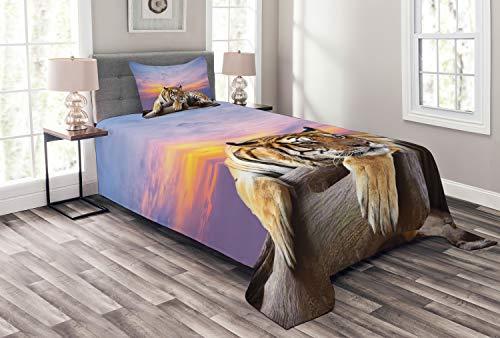 ABAKUHAUS Safari Tagesdecke Set, Tiger Bunte Sonnenuntergang, Set mit Kissenbezug Weicher Stoff, für Einzelbetten 170 x 220 cm, Lavendel Senf Beige Lila