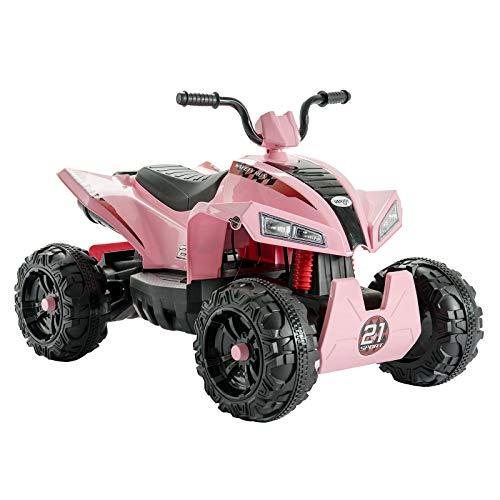 Uenjoy 4 Roue Quad Electrique pour Enfant,12 V Electrique Voiture W/2 Vitesses ,ATV pour Enfant,Rose