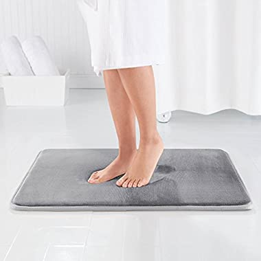 Genteele Memory Foam Bath Mat Non Slip Absorbent Super Cozy Velvet Bathroom Rug Carpet (17  X 24 , Gray)
