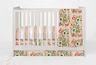 Girls Vintage Blue Floral Crib Bedding Set- 3 Piece Girl Crib Bedding Set - Handmade in The USA by Twig + Bird