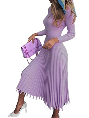Minetom Damen Cocktail Festlich Hochzeit Party Kleid Langarm Winter Pullover Strickkleid Sweatkleid Elegant Midi Plissee Abendkleid Violett 38