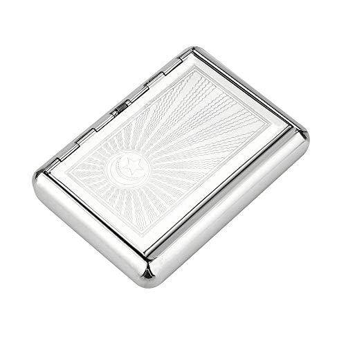 Cloudlesscc Caja de Cigarrillos Metal Caso de Cigarrillos Cuadro Titular Sostiene Cigarrillos Boquilla de Plata Tabaco depósito de Reserva(95 * 70 mm)-Silver Caja de Cigarrillos (Color : Silver)