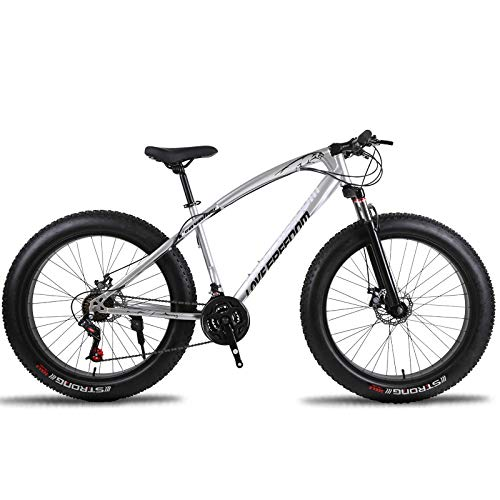 Variable Speed Off-Road Beach Snow Mountain Bike 4.0 Large tire Wide tire 27 Gear Bicycle Adult (White)