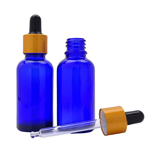 6 Pcs vide bleu cobalt verre Pipette bouteilles huiles aromathérapie d'or Matt Cap Pipette Bouteilles gros verre Goutte Rechargeables Dropper Sérum Flacon 20 ml