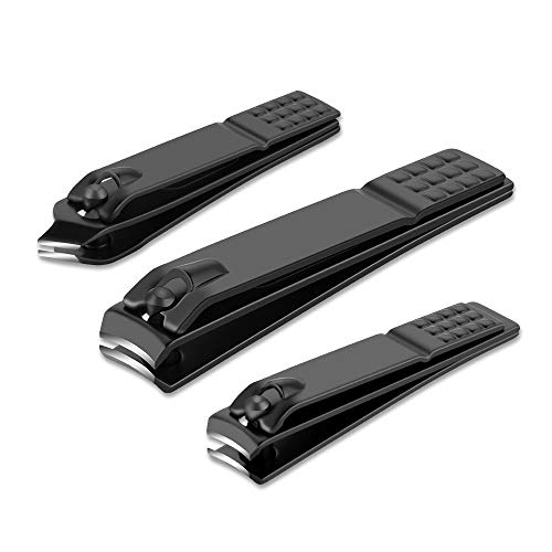 Nail clippers set Black Matte Stainless Steel Fingernail & Thick Toenail & Ingrown Nail clippers, Perfect 3 pcs Nail clippers Cutter for Men and Women (Black)