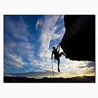 キャンバス壁アート写真リビングルームロッククライミング絵画家の装飾HDプリント日没の風景ポスターリビングルームベッドルーム50x70cmアンフレーム