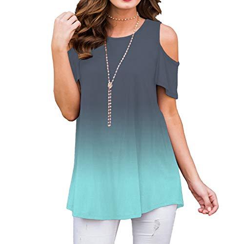 Auifor Frauen Gradient Print Kurzarm T-Shirt, Mode Off Schulter lässig Tee Bluse Tops