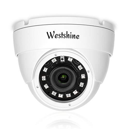 Westshine Cámara IP de Seguridad, 5MP PoE(Power Over Ethernet), Cámaras Domo de vigilancia para Interiores y Exteriores, Nube P2P, Detección de Movimiento, 12pcs IR Leds 20 Metros de visión Nocturna