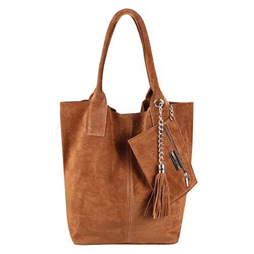 Made IN Italy Damen XXL Leder Tasche + Schmucktasche Handtasche Wildleder Shopper Schultertasche Fransen Umhängetasche Quaste Kette DIN-A4 Hobo Tote Bag Cognac-Braun