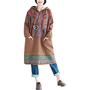 Women's Oversized Cotton Hoodies Dresses Ethnic Printed Fall Dress Pockets