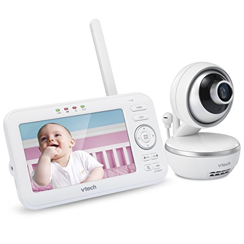 "VTech VM5261 5"" Digital Video Baby Monitor with Pan & Tilt Camera, Wide-Angle Lens and Standard Lens, White"