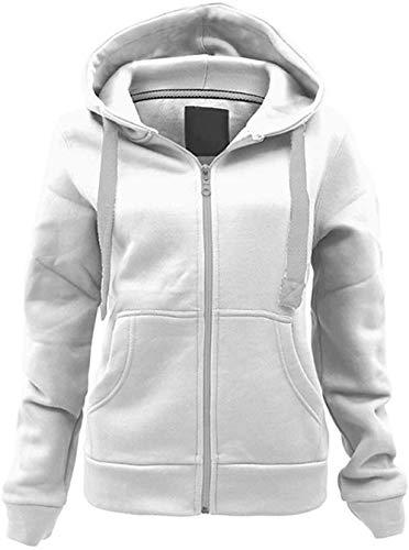 N?A Femmes à capuche Zipper chaud à capuche à manches longues hiver dames polaire Sweatshirts Zip Up Jacket (Cream, XL)