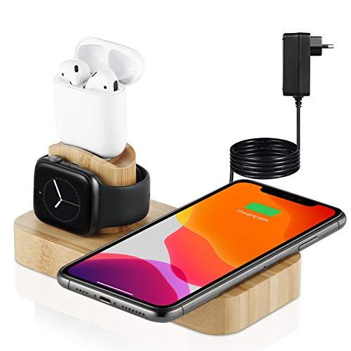 Veelink - Cargador inalámbrico de bambú 4 en 1, estación de carga rápida extraíble compatible con iPhone 12/11 Series/XS MAX/XR/XS/X/8/8 Plus/Samsung (adaptador incluido)