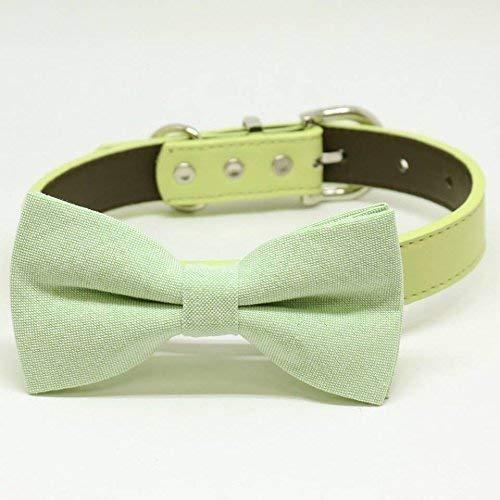 cat bow tie collar handmade leather Green burlap bow tie collar dog collar