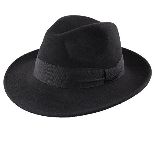Classic Italy - Chapeau Fedora Pliable imperméable Feutre - 10 Coloris - Homme ou Femme Fedora - Taille 58 cm - Noir