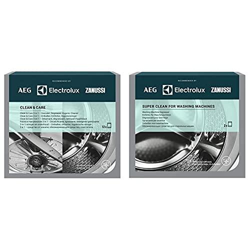 AEG M3GCP400 Limpieza y Cuidado para Lavadoras y Lavavajillas 3 en 1 : Descalcificador, Desengrasante y Desinfectante + Super Limpiador DesenGramosasante para Lavadoras, Gris, 2 Unidades