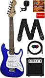 Fender Squier 3/4-Size Kids Mini Strat Electric Guitar - Imperial Blue Learn-to-Play Bundle w/Amp, Cable, Tuner, Strap, Picks, Fender Play Online Lessons, and Austin Bazaar Instructional DVD