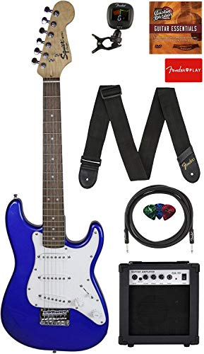 Fender Squier 3/4 Size Kids Mini Strat Electric Guitar Learn-to-Play Bundle w/Amp, Cable, Tuner, Strap, Picks, Fender Play Online Lessons, and Austin Bazaar Instructional DVD - Imperial Blue