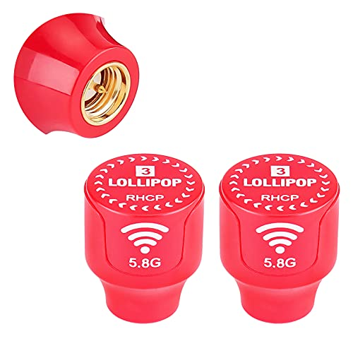 Antena FPV Lollipop 3 Antena Stubby RHCP 5.8G 2.5dBi Super Mini TX RX Antena SMA Macho para RC FPV Drone Rojo (2 Piezas)