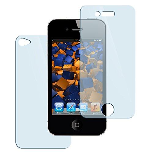 mumbi Hart Glas Folie kompatibel mit iPhone 4 Panzerfolie, iPhone 4s Panzerfolie, Schutzfolie Schutzglas (2X)