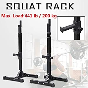 Topeakmart Squat Stands Barbell Rack Dip Stand Free-Press Bench