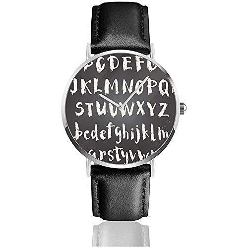 Fuente de Escritura Manuscrita Mujer Hombre Relojes de Pulsera de Cuero de PU Relojes de Pulsera Negro