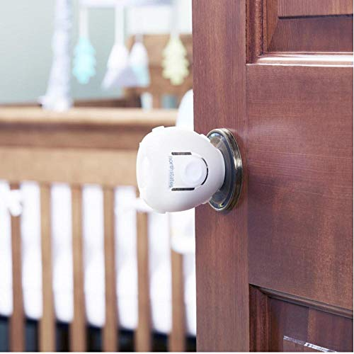 Toddleroo by North States Door Knob Covers | Prevents Child from Opening Doors l Fits Most Doors – assembles Easily for a Quick Safety Solution | Baby- Proof with Confidence (2-Pack, White)