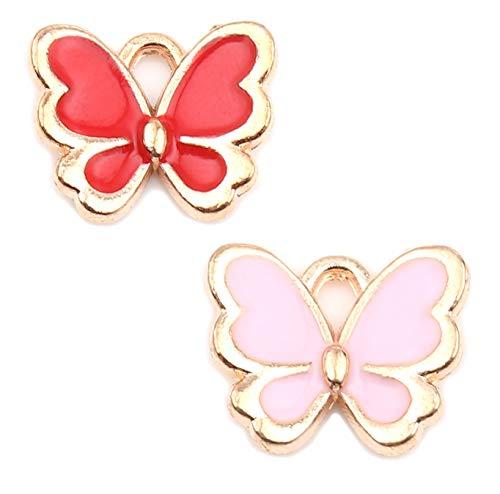 JGFinds - Colgantes esmaltados de mariposa, paquete de 40 (20 de cada color), 1/2 pulgadas por 3/8 pulgadas, tono dorado 1/2' x 3/8'