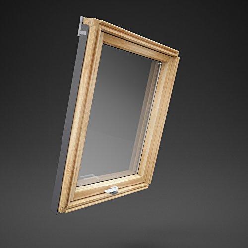 Preishammer Dachfenster Holz Slim Rahmen 66x112 Solstro Schwingfenster Fenster wie F06 F6A Kieferholz inklusive Eindeckrahmen für Ziegel Größe 66 x 112 cm wie 66x118 FK06