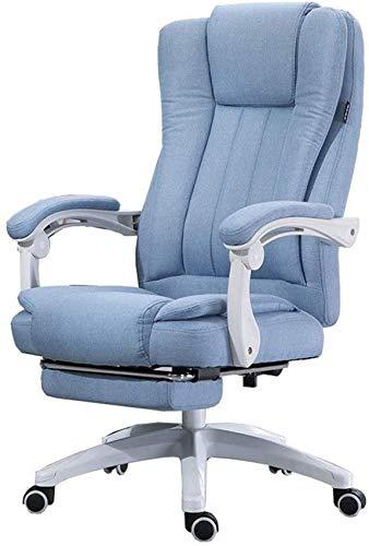 Home Office Desk Chair 150 Diseño Reclinable Asiento Doble Trasero Silla Boss De Algodón Y Lino Natural con Reposapiés Altura De Elevación 117-127Cm Relax Completamente (Color: Mar