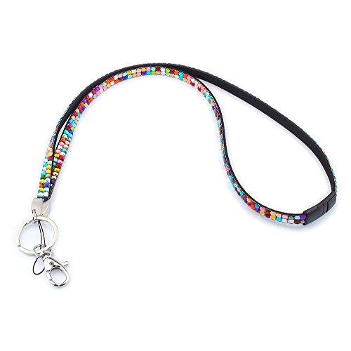 Soleebee Correa Para el Cuello de Cuero 80cm Cristal Diamante de Imitacion Con cierre de seguridad Separarse Para Titular de Insignia y Llaves (Colores)