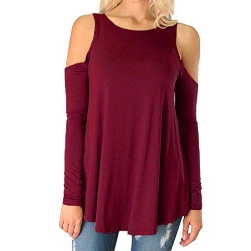 Tops Femmes Toamen Haut à manches longues et épaules dénudées T-shirt Col rond Sans bretelles Blouse ample Tops grande taille(L4,Vin rouge)