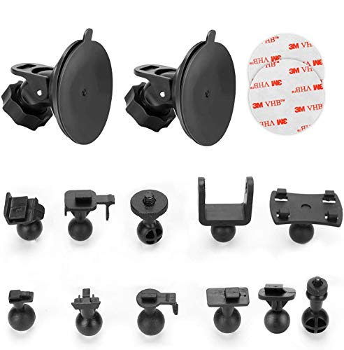 "Dash Cam Suction Cup Mount Compatible with AUKEY, Crosstour, APEMAN, YI 2.7"", Z-Edge Z3 3"" and Most Other Dash Cam with 16 Different Points, 3 x Glue Double Sided Adhesive Tapes, 3 Wipes(Dry and Wet)"