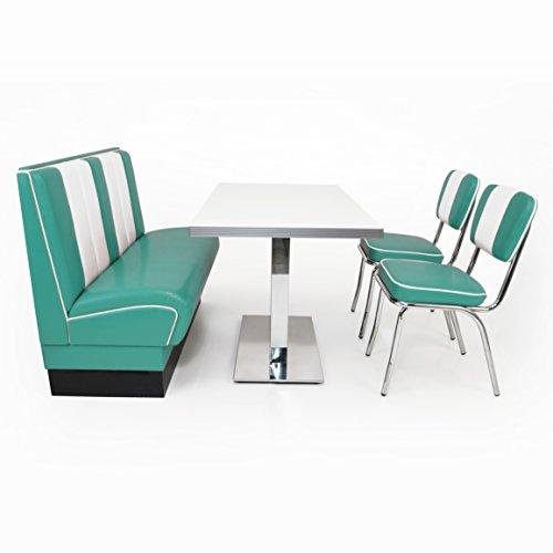 möbelland24 American Diner Sitzgruppe türkis: Sitzbank Viber 120cm + Diner Tisch + 2X Retro Stuhl
