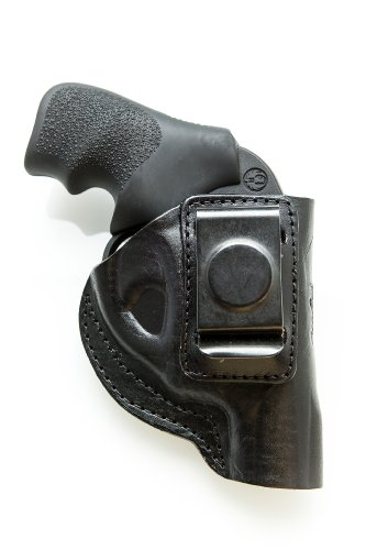 Cardini Leather USA – Zorro Series Holster – Right Handed – Black Leather – For Ruger LCR 38 Special – Concealed Carry IWB with Clip