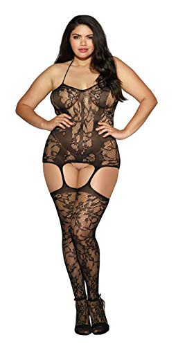 Dreamgirl Women's Plus Fishnet Halter Dress with Neck Ties and Attached Thigh Highs, Black, One Size