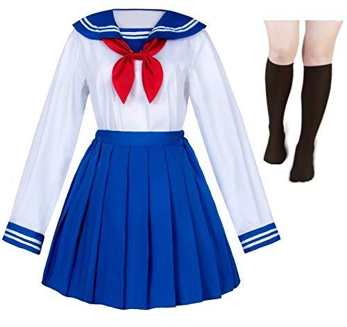 Japanische Schulmädchen Uniform Matrosenrock Marineblau Plissee Rock Anime Cosplay Kostüme mit Socken Set (SSF13) - - S