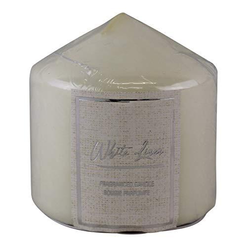 EliteKoopers White Linen Fragranced Pillar Candle For Home, Office Decoration Item