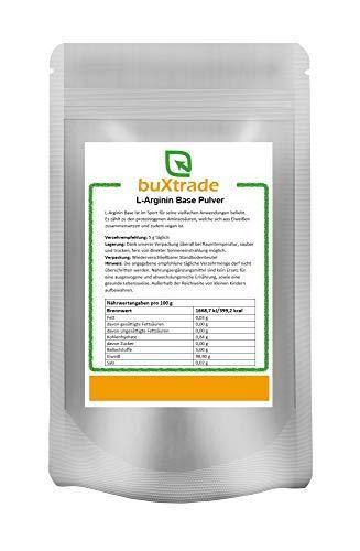 1 kg L-Arginin Base Pulver | reine Aminosäure | Hochdosiert | Nahrungsergänzungsmittel | Ohne Zusatz | Buxtrade