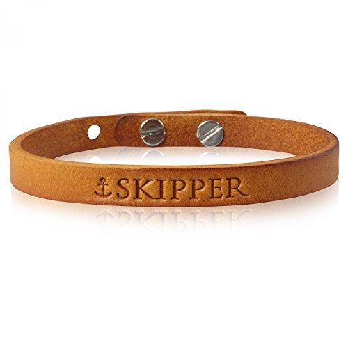 Skipper Maritimes Leder-Armband für Damen und Herren - Braun Cognac